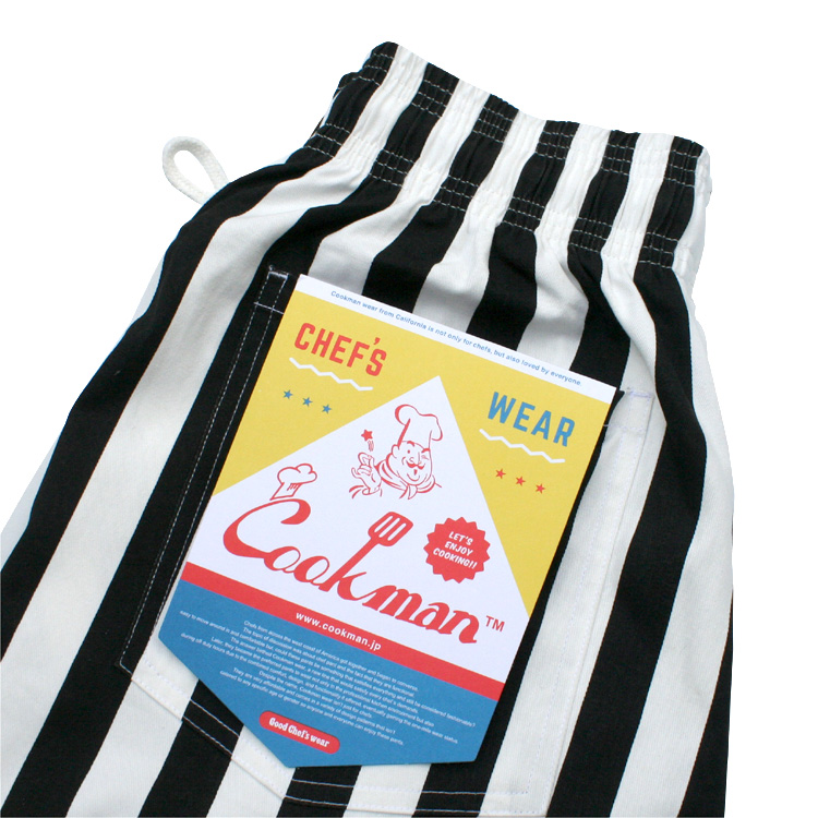Chef Pants 「Wide stripe」 Black