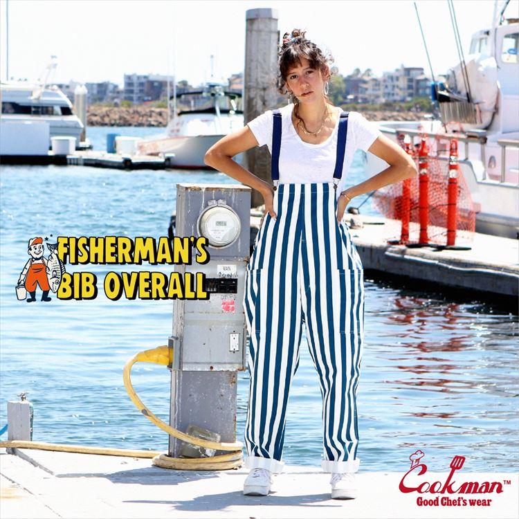 Fisherman's Bib Overall 「Wide Stripe」 Navy