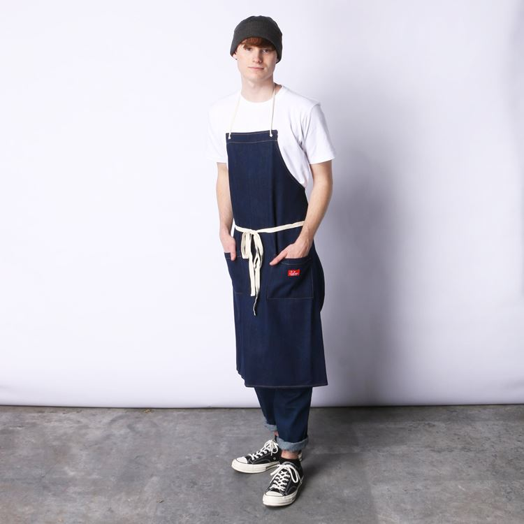 ロングエプロン Long Apron Denim Navy