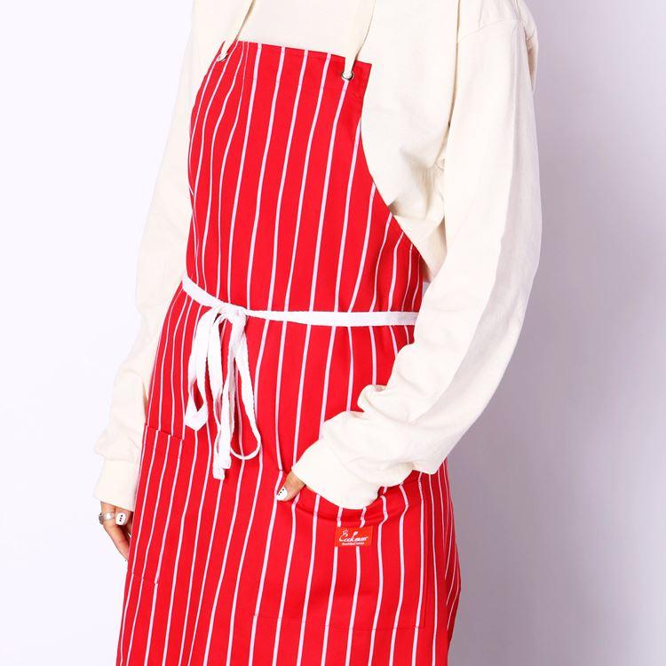 ロングエプロン Long Apron Stripe Red