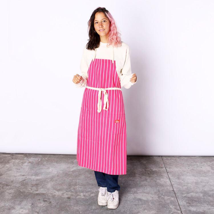 Long Apron 「Stripe」 Pink