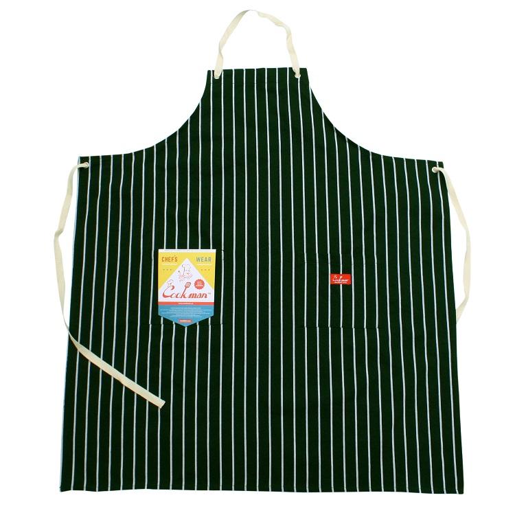 ロングエプロン Long Apron Stripe D/Green