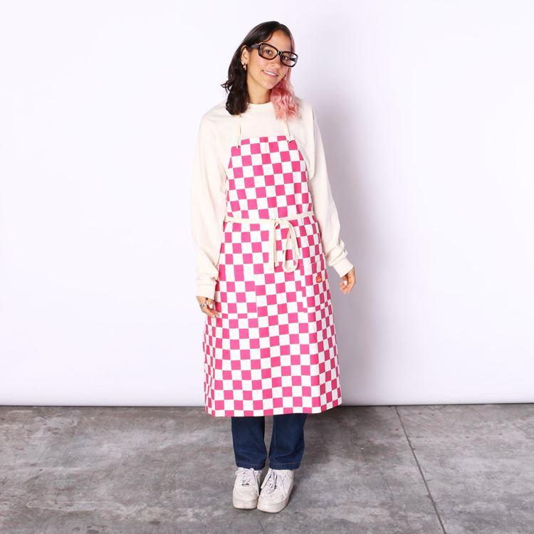 ロングエプロン Long Apron Checker L/Pink