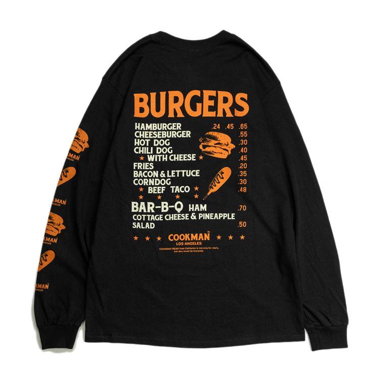 ロングスリーブTシャツ Burgers Menu