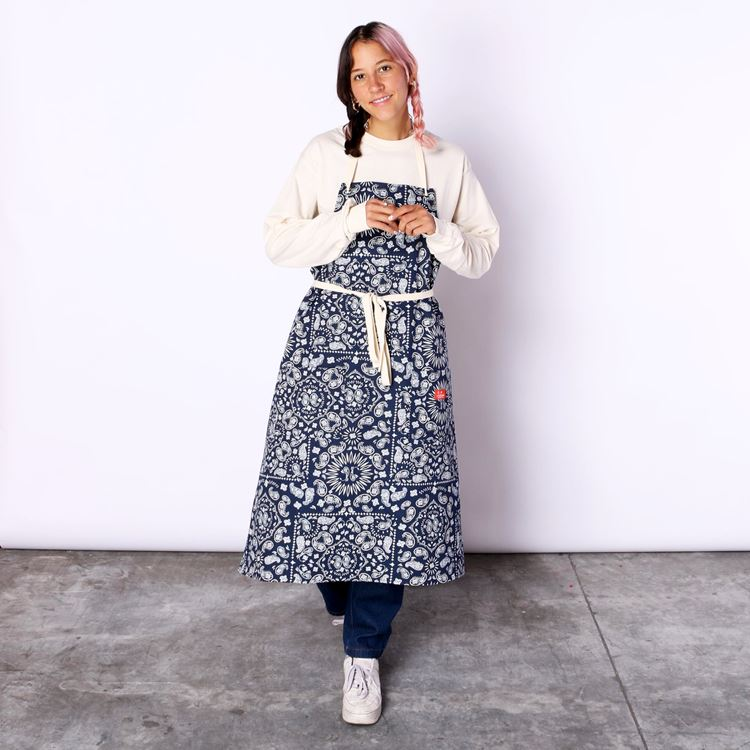 Long Apron 「Paisely」  navy