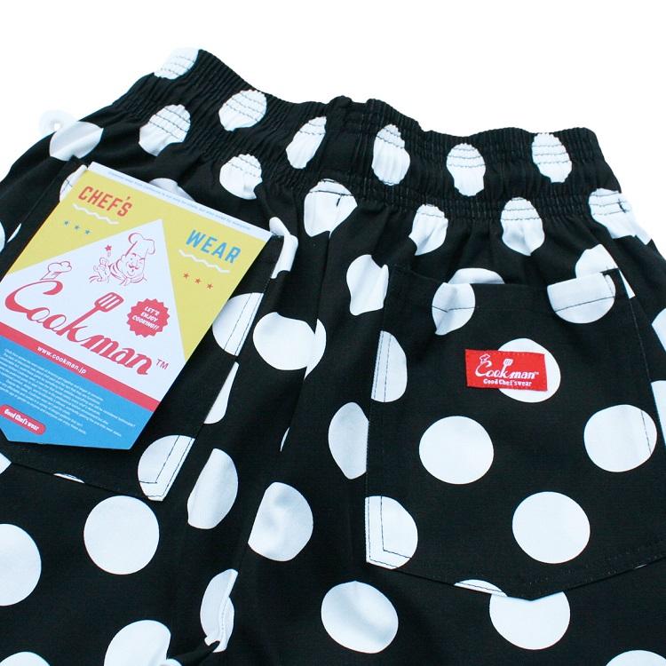 シェフパンツ Chef Pants Short Big dots Black