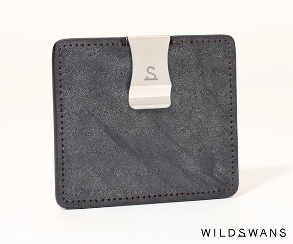 【選べるノベルティ付】ワイルドスワンズ フルグレインブライドル ミニマル マネークリップ(カラー:ブラック) FULL GRAIN BRIDLE WILD SWANS