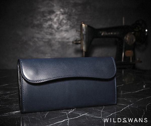 【選べるノベルティ付】ワイルドスワンズ イングリッシュブライドル ウェイブ 長財布(カラー:ネイビー) ENGLISH BRIDLE WAVE WILD SWANS
