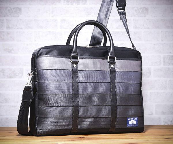 【選べるノベルティ付】 クールキャットオリジナル シートベルト 2WAYビジネスバッグ(カラー:グレー)