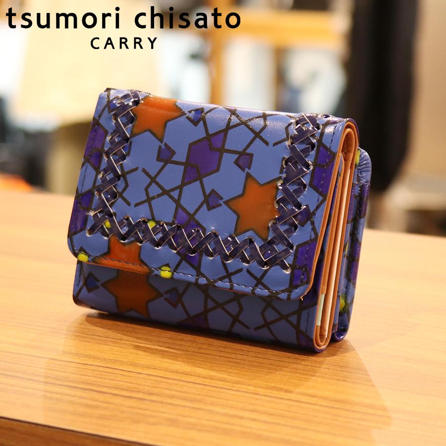 【選べるノベルティ付】tsumori chisato ツモリチサト ハンドクロスステッチ  ミニ財布(カラー:ブルー) 57585