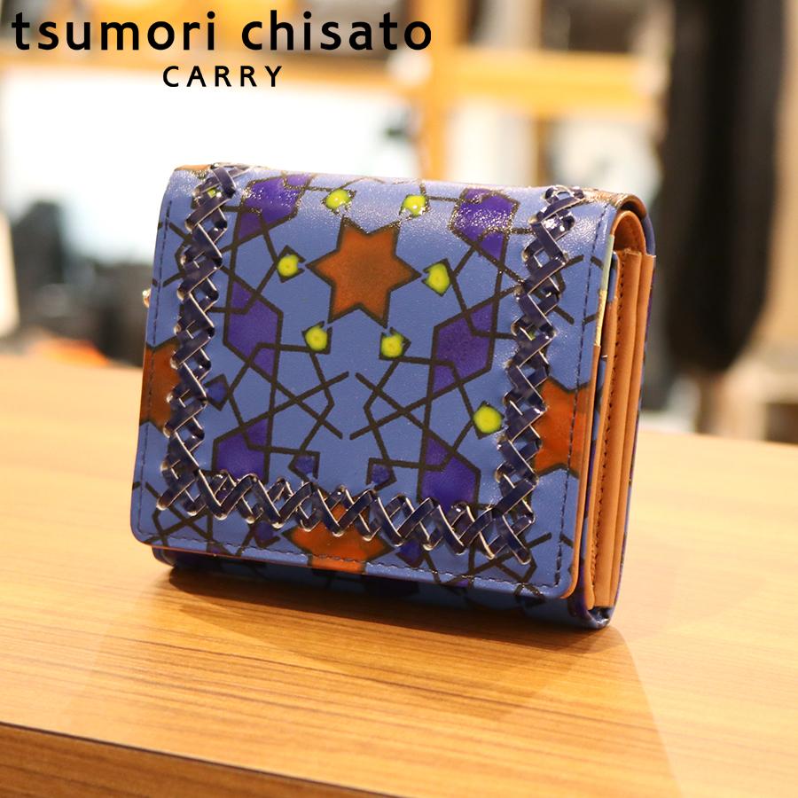 【選べるノベルティ付】tsumori chisato ツモリチサト ハンドクロスステッチ  折財布(カラー:ブルー)57586