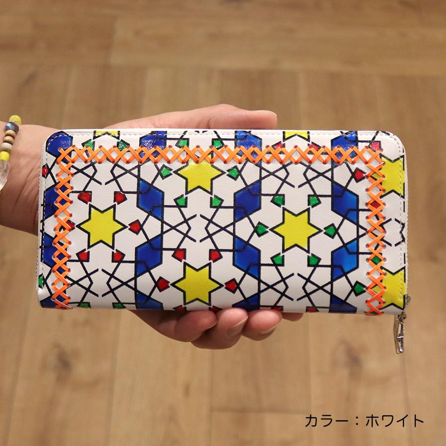 【選べるノベルティ付】tsumori chisato ツモリチサト ハンドクロスステッチ  ラウンド長財布(カラー:ホワイト)57587
