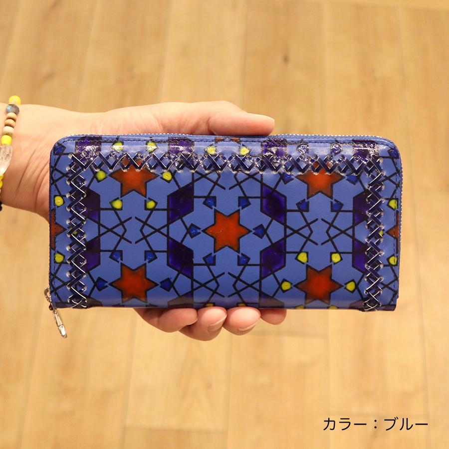 【選べるノベルティ付】tsumori chisato ツモリチサト ハンドクロスステッチ  ラウンド長財布(カラー:ブルー)57587