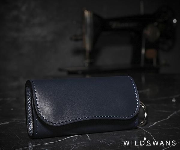 【選べるノベルティ付】ワイルドスワンズ イングリッシュブライドル クリッパー2 キーケース(カラー:ネイビー) ENGLISH BRIDLE WILD SWANS