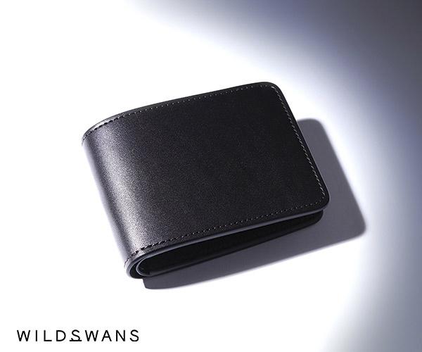 【選べるノベルティ付】ワイルドスワンズ イングリッシュブライドル ウィングス 二つ折り財布(カラー:ブラック) ENGLISH BRIDLE WINGS WILD SWANS