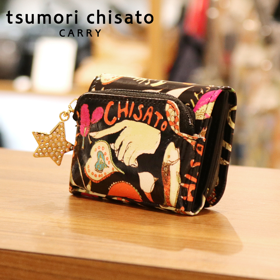 【選べるノベルティ付】 tsumori chisato ツモリチサト ハッピースタッフ ミニ財布 (カラー:ブラック) 057528
