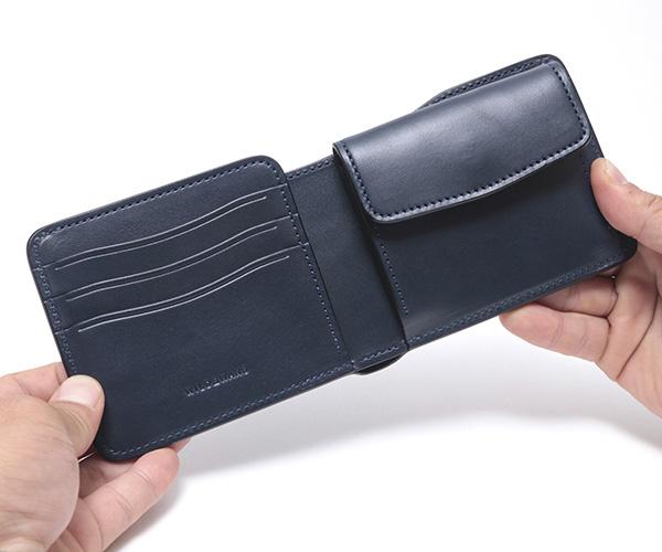 【選べるノベルティ付】ワイルドスワンズ イングリッシュブライドル グラウンダー 二つ折り財布(カラー:ネイビー) ENGLISH BRIDLE WILD SWANS