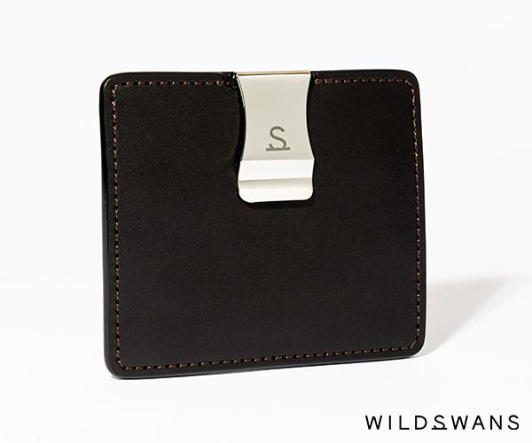 【選べるノベルティ付】ワイルドスワンズ イングリッシュブライドル ミニマル マネークリップ(カラー:ブラック) ENGLISH BRIDLE WILD SWANS