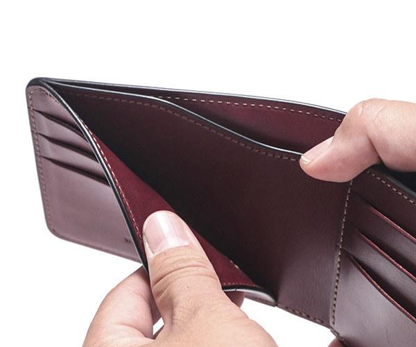 【選べるノベルティ付】ワイルドスワンズ イングリッシュブライドル ウィングス 二つ折り財布(カラー:バーガンディ) ENGLISH BRIDLE WINGS WILD SWANS