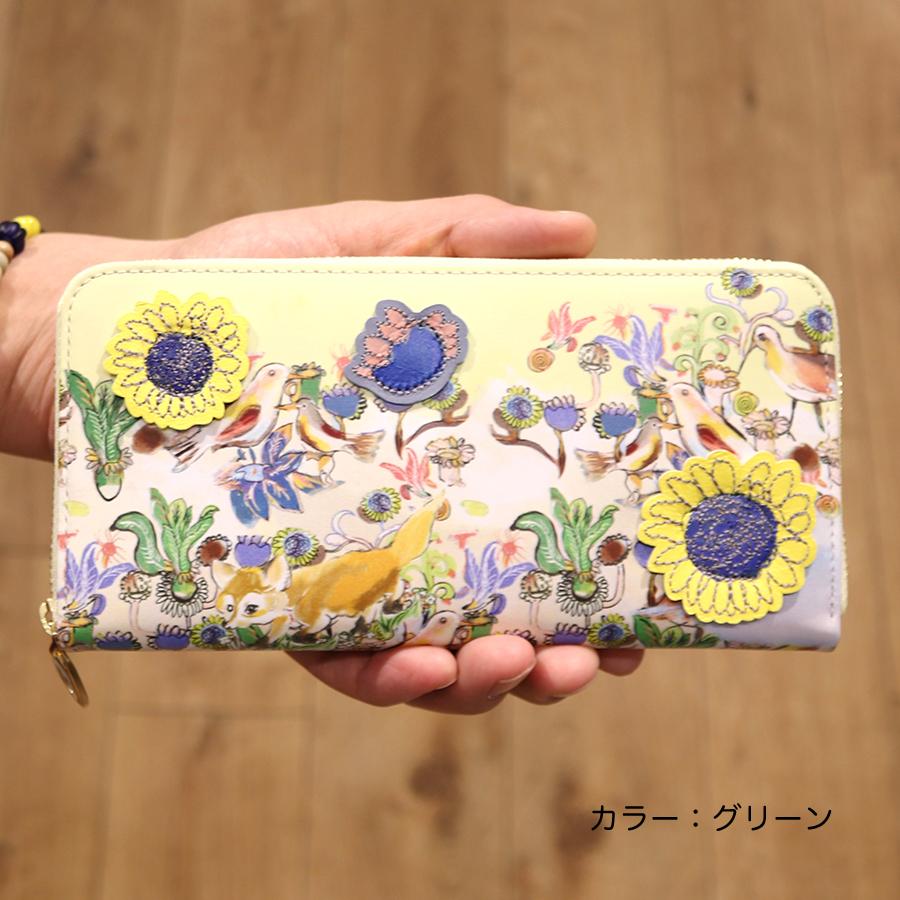 【選べるノベルティ付】 tsumori chisato ツモリチサト ガーデン ラウンド長財布 (カラー:グリーン) 57552