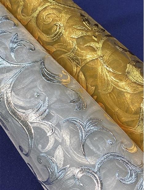 エミーオーガンジー <160363> 140cm幅<br> オーガンラメ箔プリント 反買いがお得です!