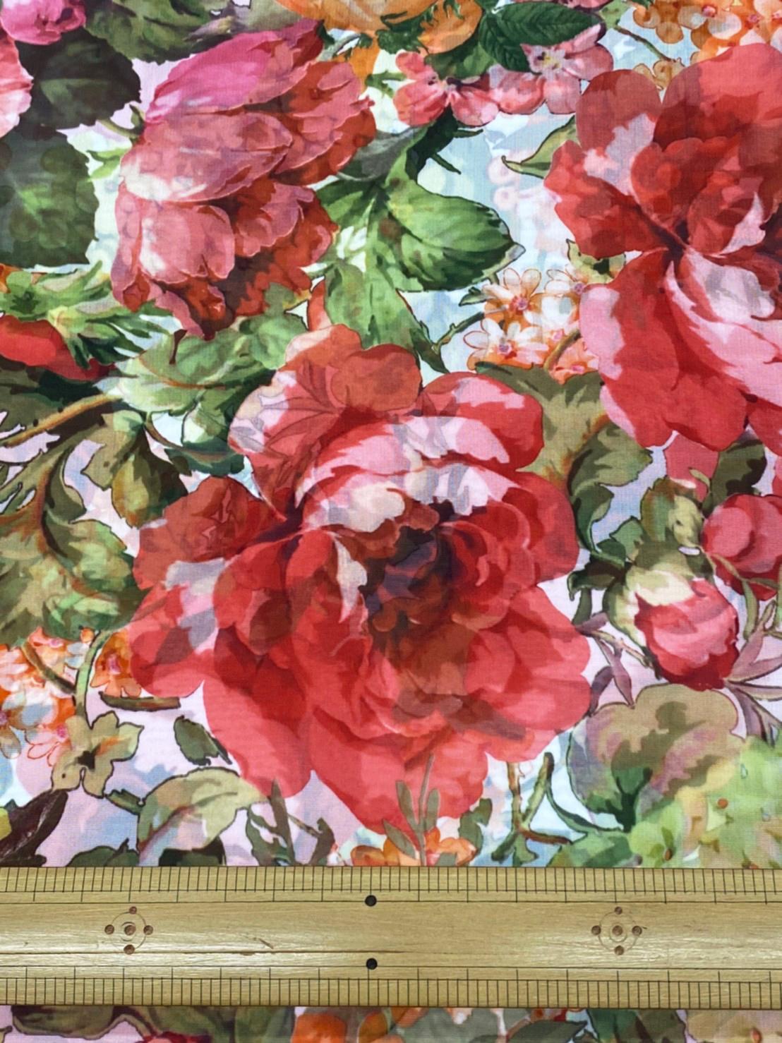 170535<br>サテン オーガン 転写 プリント<br>生地 布地 布 衣装 コスプレ コスチューム ステージ ウェディング ブライダル スカート ワンピース ポリエステル 花柄 バラ 日本製