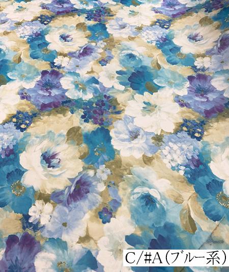 500872<br>サテン オーガン 転写 プリント<br>生地 布地 布 衣装 コスプレ コスチューム ステージ ウェディング ブライダル スカート ワンピース ポリエステル 花柄 バラ 日本製