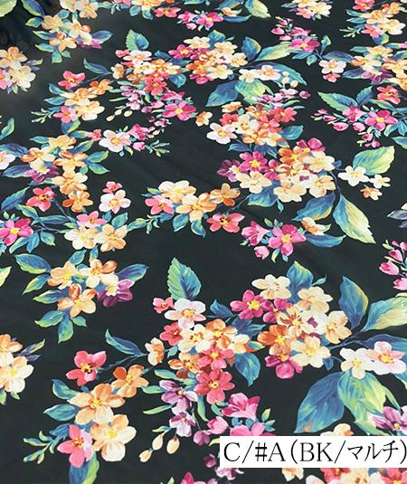500935<br>サテン オーガン 転写 プリント<br>生地 布地 布 無地 衣装 コスプレ コスチューム ステージ ウェディング ブライダル スカート ワンピース ポリエステル 花柄 日本製