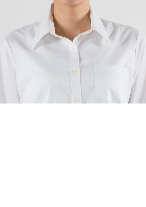 襟もとのセンスが好印象★超ストレッチの動き楽々★上質の白 シャツブラウス ロングシャツ ホワイト(40143/40144/40145/40146/40147/40148/40149)