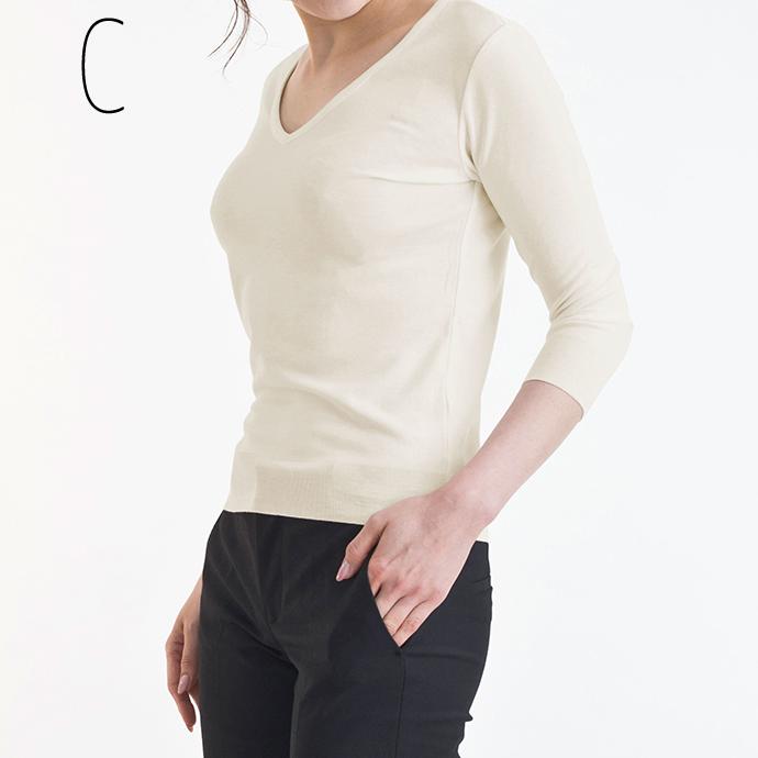 【送料無料】【選べる3枚セット☆Vネック/Uネック】いつまでも柔らかな肌触りで着心地がいい カットソー 7分袖