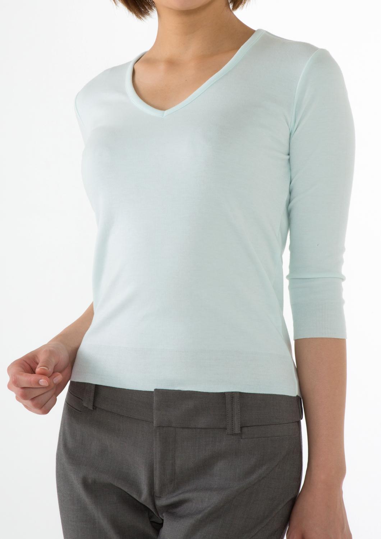 いつまでも柔らかな肌触りで着心地がいいVネック カットソー 7分袖 ベージュ(36116 36117 36118)
