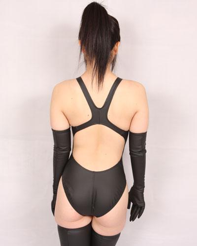 【コスメイトオリジナル】ラバー素材 競泳水着◆黒/M・3L
