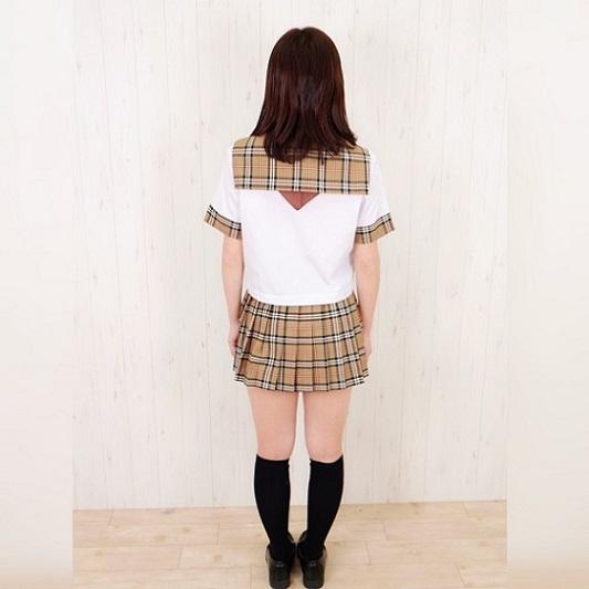 半袖 セーラー服 セット 白×キャメルチェック