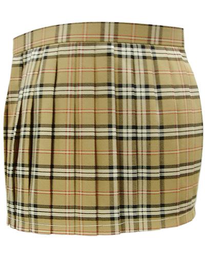 チェックプリーツスカート キャメル色