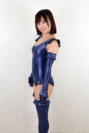 コスメイトオリジナル スーパーウェット素材 レオタード&グローブ &タイツセット◆紺/3L
