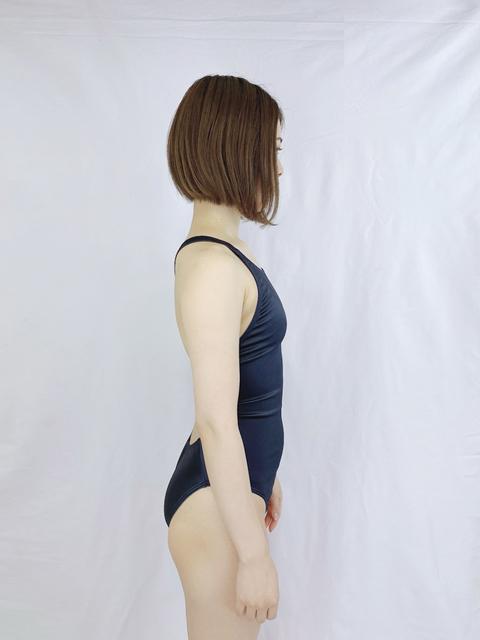 【コスメイトオリジナル】1WAYストレッチサテン競泳水着◆紺/M・3L・5L