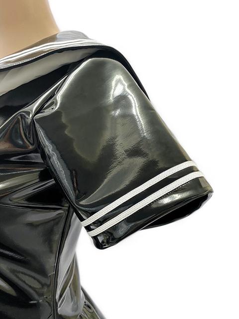 【コスメイトオリジナル】2wayストレッチエナメル素材 半袖セーラーレオタード◆黒/M・3L