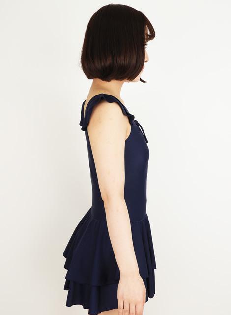 【コスメイトオリジナル】マイクロファイバー生地 ダブルスカート付きレオタード◆紺・桃/M・3L