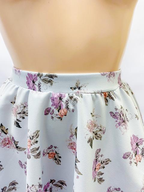 【コスメイトオリジナル】<br>大きめサイズ!花柄レース付きフレアースカート【全2色】