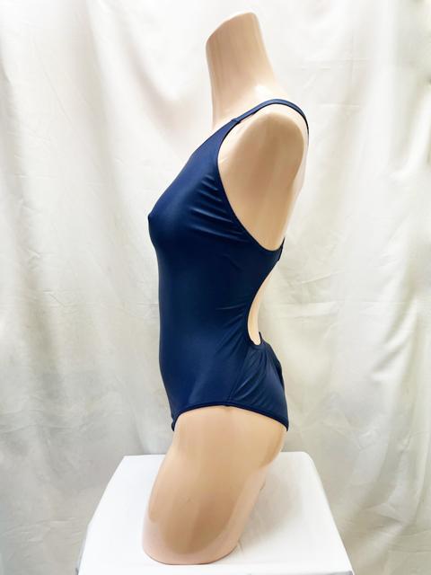 【コスメイトオリジナル】ナチュラルウェット生地競泳水着◆紺/M・3L