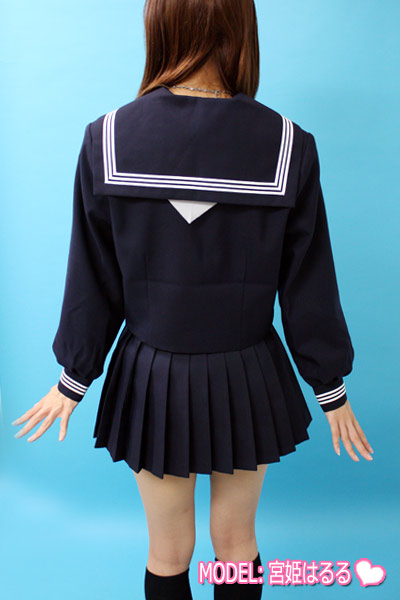 《日本製》学校販売用 冬長袖セーラー服(中間服)◆カブリ・前開/〜T180A・〜T190Bサイズ