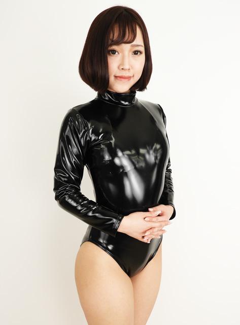 【コスメイトオリジナル】エナメル生地長袖ハイネックレオタード◆M・3L