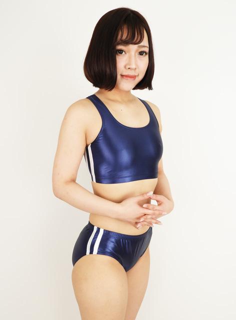 【コスメイトオリジナル】スーパーウェット生地ハーフトップ&ブルマSET◆紺×白/M・3L