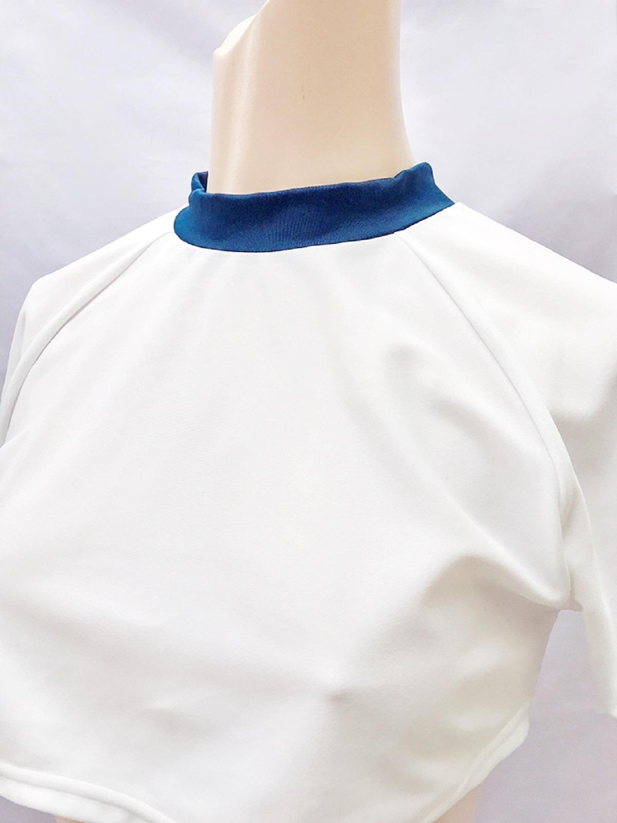 【コスメイトオリジナル】ミニ丈体操服&スーパーローライズブルマSET◆白×紺/M・3L