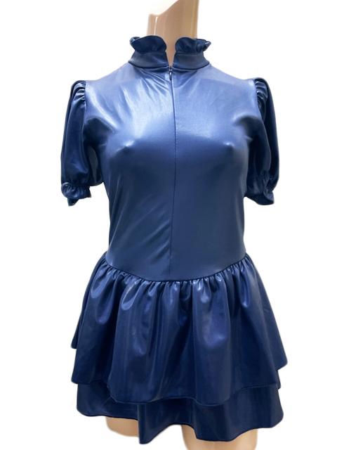 【コスメイトオリジナル】スーパーウェット生地パフスリーブWスカート型レオタード(前開き)◆白・紺/L・3L