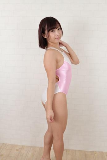 【コスメイトオリジナル】スーパーウェット生地配色型競泳水着◆白×桃/M・3L