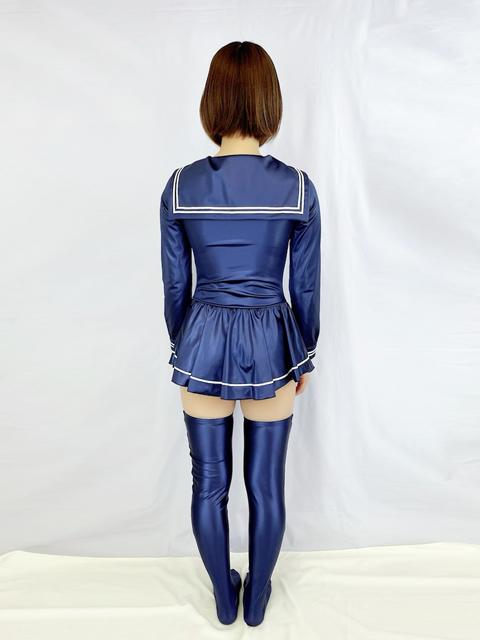 【コスメイトオリジナル】スーパーウェット生地長袖セーラーレオタード◆全3色/M・3L