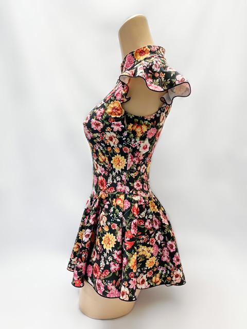 【コスメイトオリジナル】花柄チャイナカラー肩フリル付レオタード(スカートタイプ)◆限定/M・3L