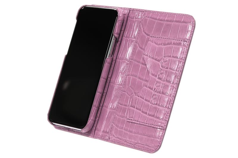 スマートフォンケース ポケット付 フォールディングタイプ プレミアム サクラピンク for Apple iPhone 12 / 12 Pro