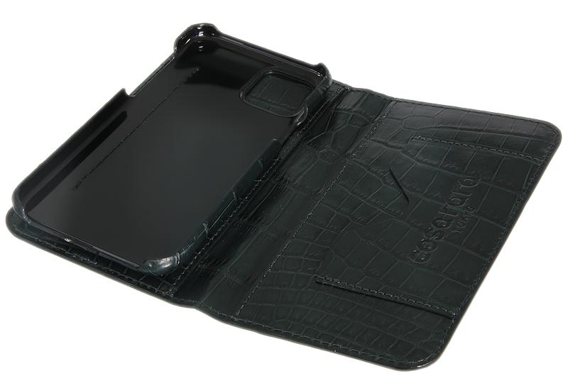 スマートフォンケース ポケット付 フォールディングタイプ プレミアム ダークグリーン for Apple iPhone 12 Pro Max
